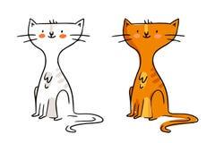 Beeldverhaal uit de vrije hand vectorkarakter, de grappige schets van de gemberkat in mo Stock Fotografie