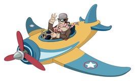 Beeldverhaal uitstekend vliegtuig stock illustratie