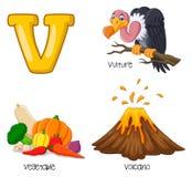 Beeldverhaal V alfabet royalty-vrije illustratie
