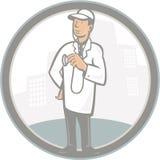 Beeldverhaal van artsen het Veterinaire Vet With Stethoscope Royalty-vrije Stock Foto