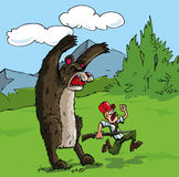 Beeldverhaal van beer die een jager aanvalt Stock Foto's