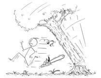 Beeldverhaal van de Dalende Boom van Houthakkersrunning away from stock illustratie