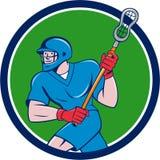 Beeldverhaal van de de Stok het Lopende Cirkel van Crosse van de lacrossespeler royalty-vrije illustratie