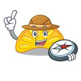 Beeldverhaal van de het suikergoedmascotte van de ontdekkingsreiziger het oranje gelei vector illustratie