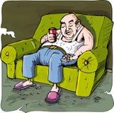 Beeldverhaal van de luie drinkende mens Stock Foto