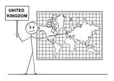 Beeldverhaal van de Mens die in Engeland of Groot-Brittannië of het Verenigd Koninkrijk op de Kaart van de Muurwereld richten stock illustratie
