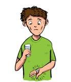 Beeldverhaal van de mens die van een pil en een capsule wordt doen schrikken Vectorclipart Illu stock illustratie