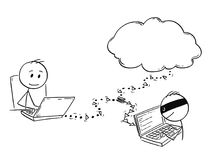 Beeldverhaal van de Mens of Zakenman Working op Computer terwijl de Hakker binnen aan zijn Netwerkmededeling overtreedt Stock Foto