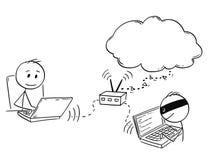 Beeldverhaal van de Mens of Zakenman Working op Computer terwijl de Hakker binnen aan zijn Netwerkrouter overtreedt Royalty-vrije Stock Foto's