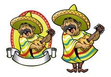 Beeldverhaal van de Mexicaanse mens die de gitaar en het zingen spelen Stock Afbeelding