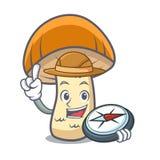 Beeldverhaal van de de paddestoelmascotte van de ontdekkingsreiziger het oranje GLB boleet vector illustratie