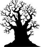 Beeldverhaal van de silhouet leafless eiken boom Royalty-vrije Stock Foto