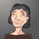 Beeldverhaal van Droevig Bejaard Wijfje Royalty-vrije Stock Afbeelding