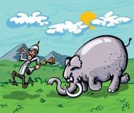 Beeldverhaal van een jager die door een olifant wordt achtervolgd Stock Foto's