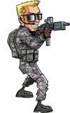Beeldverhaal van een Militair met een submachinegeweer Stock Afbeelding