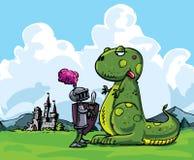 Beeldverhaal van een ridder die een woeste draak onder ogen ziet Stock Foto