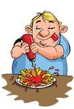 Beeldverhaal van het te zware mens eten Stock Afbeelding