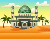 Beeldverhaal van Islamitische moskee die op de woestijn voortbouwt vector illustratie