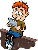 Beeldverhaal van jongen die een hand speelt - gehouden computer gamer stock illustratie