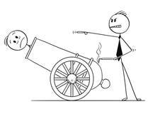 Beeldverhaal van Mens of Zakenman de Baan van Get Fired From in Kanon royalty-vrije illustratie