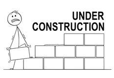 Beeldverhaal van Metselaar of Metselaar Building een Muur van Bakstenen of Blokken In aanbouw Tekst hierboven stock illustratie