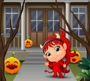 Beeldverhaal van mooie rode haired weinig duivel stock illustratie