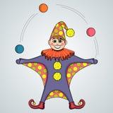Beeldverhaal van nar het jongleren met ballen royalty-vrije illustratie