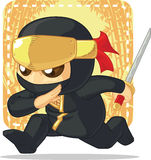 Beeldverhaal van Ninja Holding Japanese Sword Royalty-vrije Stock Afbeelding