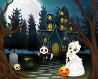 Beeldverhaal van onverbiddelijke maaimachine en schedelbruid in de Halloween-dag stock illustratie