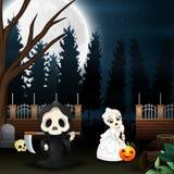 Beeldverhaal van onverbiddelijke maaimachine en schedelbruid in de tuin bij nacht stock illustratie