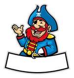 Beeldverhaal van piraatkapitein Stock Foto