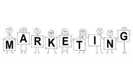 Beeldverhaal van Zakenlieden en Onderneemstersholdingstekens met de Marketing van Tekst Stock Afbeeldingen