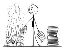 Beeldverhaal van Zakenman of Bediende Burning Paper Documents in Open haard royalty-vrije illustratie