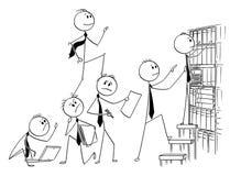 Beeldverhaal van Zakenman Climbing Up Backs van Zijn Medewerkers of Teammates vector illustratie