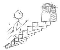 Beeldverhaal van Zakenman Running Up Stairs of Trap voor Schatborst vector illustratie