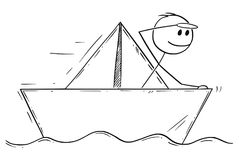 Beeldverhaal van Zakenman Sailing Paper Ship of Boot royalty-vrije illustratie
