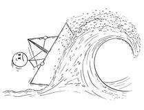 Beeldverhaal van Zakenman Sailing Paper Ship of Boot op Hoge Golf in Onweer vector illustratie