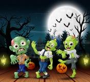 Beeldverhaal van zombie drie met de achtergrond van de vullingsmaan bij nacht royalty-vrije illustratie