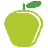 Beeldverhaal vector eenvoudige heerlijke rode appel die in witte rug wordt geïsoleerd Stock Foto