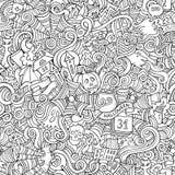Beeldverhaal vector hand-drawn Krabbels over het onderwerp Stock Afbeeldingen