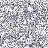 Beeldverhaal vector hand-drawn Krabbels over het onderwerp Royalty-vrije Stock Foto