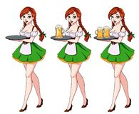 Beeldverhaal vectorillustratie met sexy serveerster met rood haar die groene traditionele kleding dragen royalty-vrije illustratie