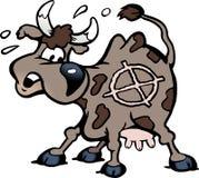 Beeldverhaal Vectorillustratie van een doen schrikken koe in de geschotene lijn Royalty-vrije Stock Foto's