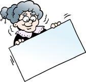 Beeldverhaal Vectorillustratie van een Gelukkige Grootmoeder die een Teken houden Royalty-vrije Stock Foto