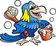 Beeldverhaal Vectorillustratie van een Gelukkige Papegaaireinigingsmachine Stock Afbeelding
