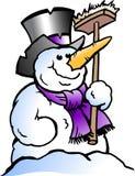 Beeldverhaal Vectorillustratie van een gelukkige Sneeuwman Royalty-vrije Stock Afbeeldingen