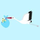 Beeldverhaal vectorillustratie van een ooievaar die een pasgeboren babyjongen leveren stock illustratie
