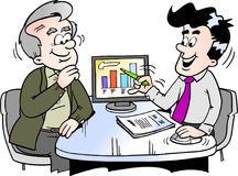 Beeldverhaal Vectorillustratie van een oudere mens die financiën bekijken stock illustratie