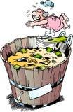 Beeldverhaal Vectorillustratie van een rijke gepensioneerde die een bad in zijn geldbak nam Royalty-vrije Stock Afbeelding