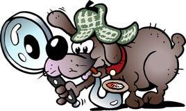 Beeldverhaal Vectorillustratie van een slimme en sluwe detective Dog Stock Afbeeldingen